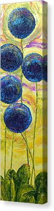 Blue Onion Blossoms And Romaine Canvas Print