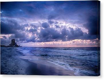 Canvas Print featuring the digital art Blue Orange Beach by Michael Thomas