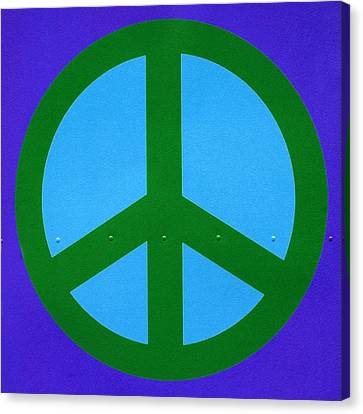Counter-culture Canvas Print - Blue Peace Symbol by Art Block Collections