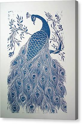 Blue Peacock Canvas Print by Barbara Anna Cichocka