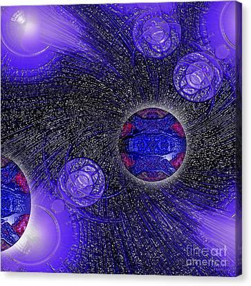 Canvas Print featuring the digital art Blue Pearl Planet Beta by Hanza Turgul