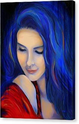 Debi Pople Canvas Print - Blue Pensive by Debi Starr