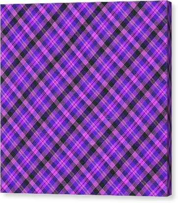 Traditional Quilt Canvas Print - Blue Pink And Black Diagnal Plaid Cloth Background by Keith Webber Jr