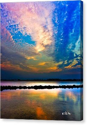 Canvas Print featuring the photograph Blue Pink Clouds Reflection Lake Landscape Vertical Panorama Art Prints by Eszra Tanner