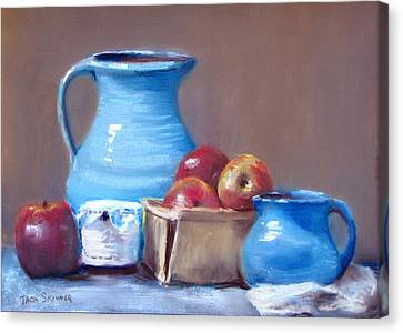 Blue Pitchers And Apples Canvas Print by Jack Skinner