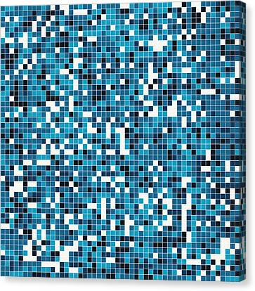 Canvas Print featuring the digital art Blue Pixel Art by Mike Taylor