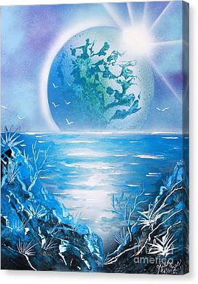 Canvas Print featuring the painting Blue Moon by Greg Moores