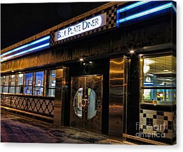 Blue Plate Diner Canvas Print by Nancy De Flon