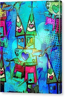 Blue Popart Dome By Nico Bielow Canvas Print by Nico Bielow