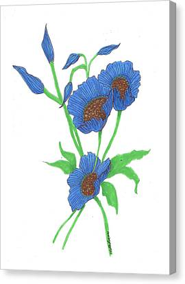 Blue Poppies Canvas Print by Milton Rogers