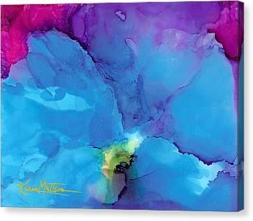 Blue Poppy Canvas Print by Karen Mattson