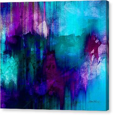 Contemporary Digital Art Canvas Print - Blue Rain  Abstract Art   by Ann Powell
