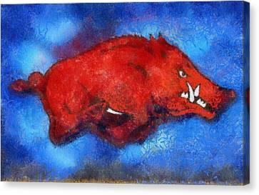 Blue Razorback Canvas Print by Dawn Bearden