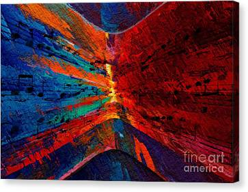 Canvas Print featuring the digital art Blue Red Intermezzo by Lon Chaffin