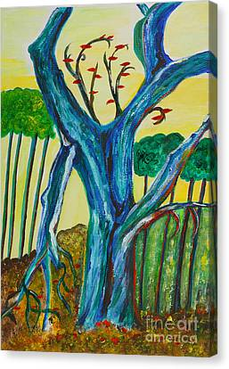 Blue Remembered Tree Canvas Print by Veronica Rickard