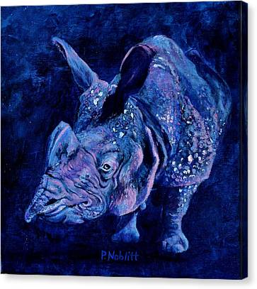 Indian Rhino - Blue Canvas Print