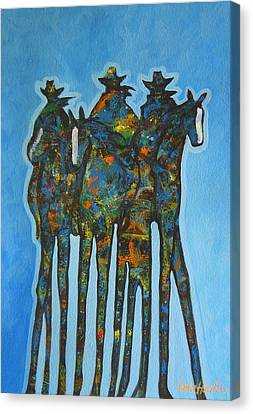 Arizona Contemporary Cowgirl Canvas Print - Blue Riders by Lance Headlee