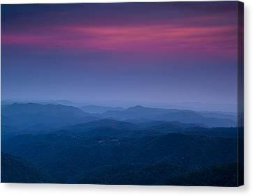 Twilight Views Canvas Print - Blue Ridge Mountain View by Andrew Soundarajan