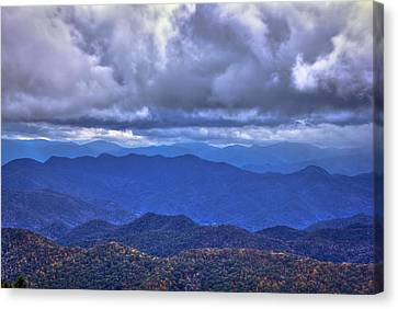 Under The Cloud Cover Blue Ridge Mountains North Carolina Canvas Print by Reid Callaway