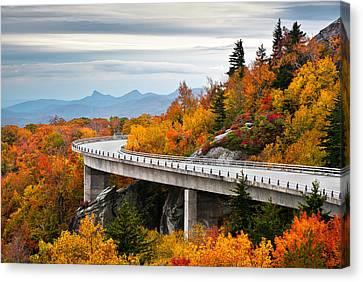 Western North Carolina Canvas Print - Blue Ridge Parkway Fall Foliage Linn Cove Viaduct by Dave Allen