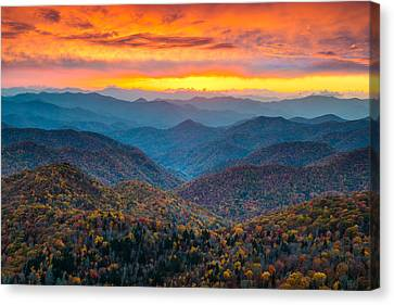 Blue Ridge Parkway Fall Sunset Landscape - Autumn Glory Canvas Print by Dave Allen