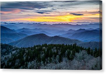 Blue Ridge Parkway Landscape Photography - Hazy Shades Of Winter Canvas Print by Dave Allen