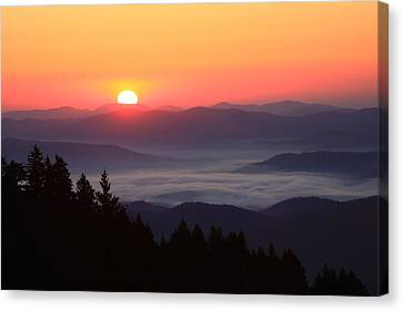 Canvas Print featuring the photograph Blue Ridge Parkway Sea Of Clouds by Mountains to the Sea Photo