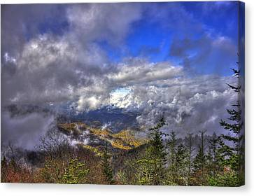 Up Among The Clouds Blue Ridge Parkway Waterrock Knob Canvas Print by Reid Callaway