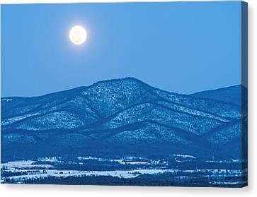 Blue Ridge Winter Moon Canvas Print by Lara Ellis