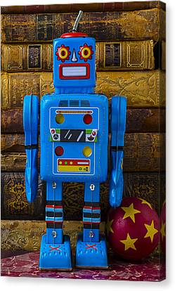 Book Collecting Canvas Print - Blue Robot And Books by Garry Gay