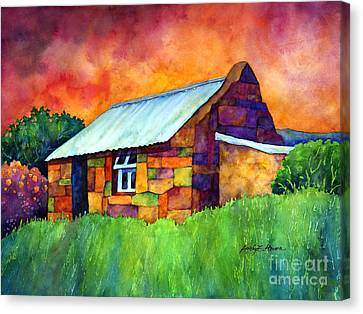 Blue Roof Cottage Canvas Print by Hailey E Herrera