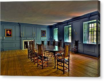 Canvas Print featuring the photograph Blue Room Wren Building by Jerry Gammon