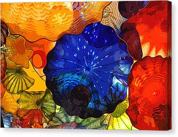 Canvas Print featuring the digital art Blue Rose by Kirt Tisdale