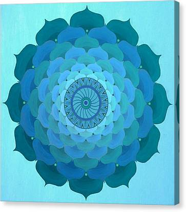 Blue Rose Mandala Canvas Print by Vlatka Kelc