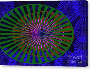 Digital Installation Art Canvas Print - Blue Rounds And Spirals by Tina M Wenger