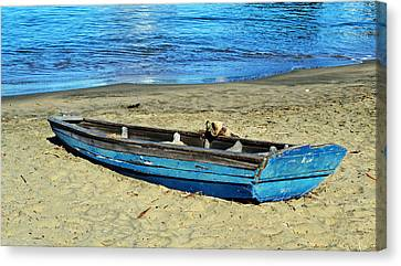 Blue Rowboat Canvas Print by Holly Blunkall