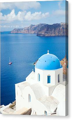 Greek Icon Canvas Print - Blue Sea - Santorini - Greece by Matteo Colombo