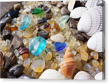 Blue Seaglass Art Prints Shells Agates Rocks Canvas Print by Baslee Troutman