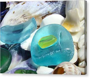 Blue Seaglass Green Art Prints Beach Shells Canvas Print by Baslee Troutman