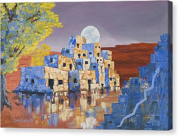 Blue Serpent Pueblo Canvas Print by Jerry McElroy