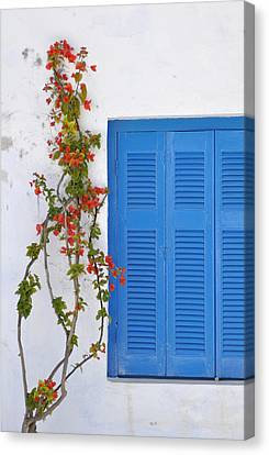 Blue Shuttered Canvas Print by Kathy Schumann
