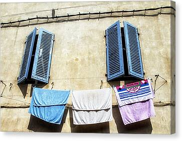 Blue Shutters And Laundry  Canvas Print