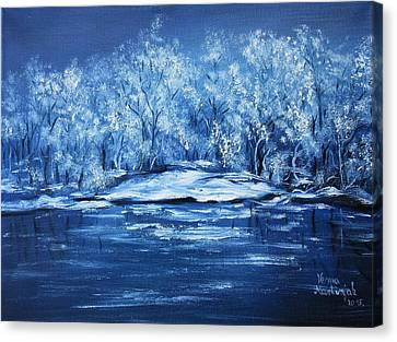 Canvas Print featuring the painting Blue Silence by Vesna Martinjak