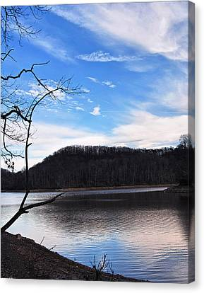 Blue Skies Over Beech Fork Lake Canvas Print by Chris Flees