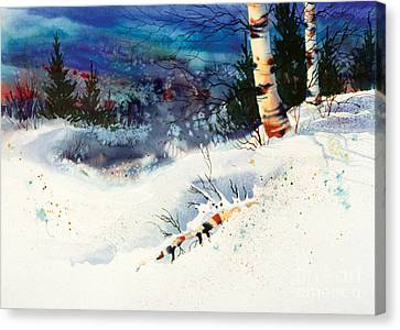 Blue Sky Birch Canvas Print by Teresa Ascone
