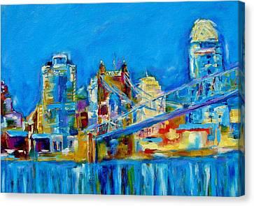 Roebling Bridge Canvas Print - Blue Sky Cincinnati by Kat Griffin