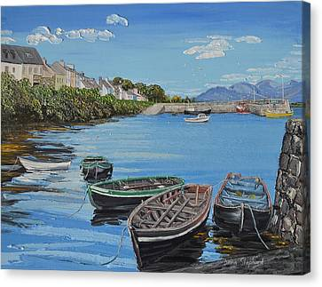 Blue Sky Day Roundstone Connemara Canvas Print by Diana Shephard