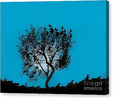Canvas Print featuring the drawing Blue Sky Moon by D Hackett