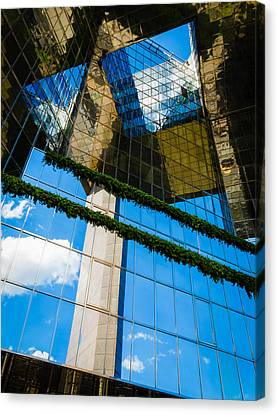Canvas Print featuring the photograph Blue Sky Reflections On A London Skyscraper by Peta Thames