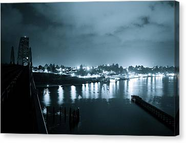 Blue Skys And City Lights Canvas Print by Sheldon Blackwell